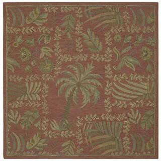 "Tara Squares Cinnamon Lanai Handmade Floral Wool Rug (11'9"" Square)"