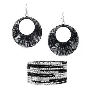 Alexa Starr Mutli-strand Seed Bead Bracelet and Earrings Set