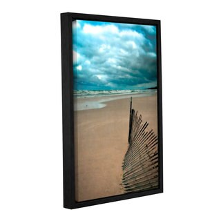 ArtWall Kevin Calkins ' Seagull And Snowfence ' Gallery-Wrapped Floater-Framed Canvas - Blue/Brown/White
