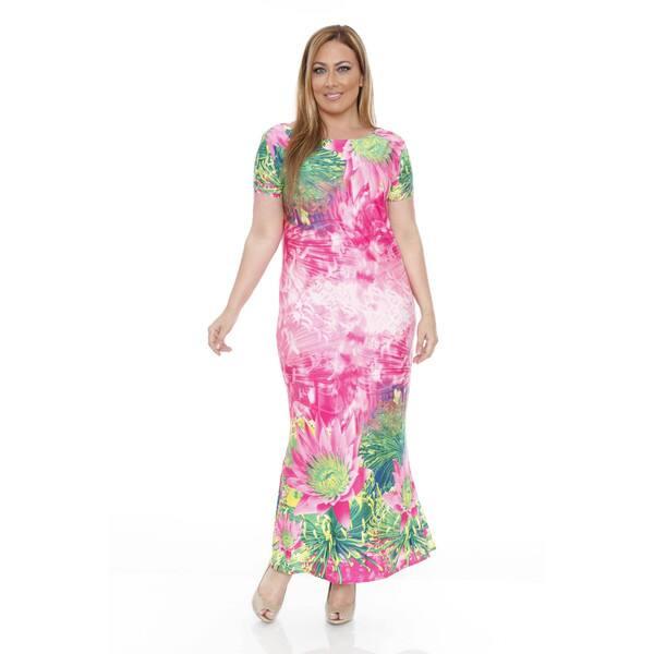 Shop White Mark Plus Size Tie-Dye Floral Maxi Dress - Free ...