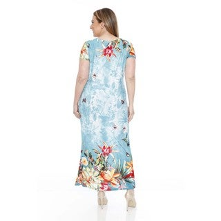 White Mark Plus Size Tie-Dye Floral Maxi Dress