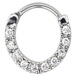 Supreme Jewelry 16G Silver Septum Clicker with Stones