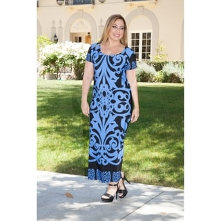 White Mark Women's Plus Size Patterned Blue/ Black Maxi Dress