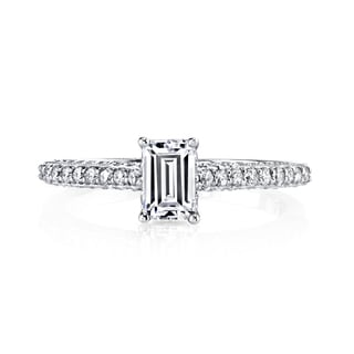 14k White Gold 1ct TDW Emerald-cut Diamond Engagement Ring