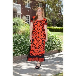 White Mark Women's Plus Size Orange/Black Pattern Maxi Dress