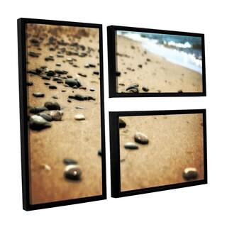 ArtWall Kevin Calkins ' Pebbles And Waves 3 Piece Floater Framed Canvas Flag Set