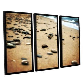 ArtWall Kevin Calkins ' Pebbles And Waves 3 Piece Floater Framed Canvas Set