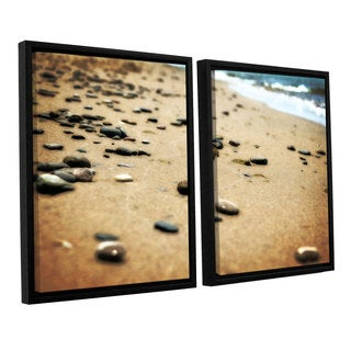 ArtWall Kevin Calkins ' Pebbles And Waves 2 Piece Floater Framed Canvas Set