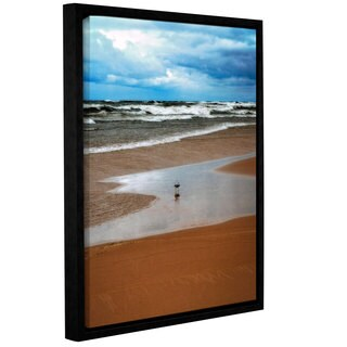 ArtWall Kevin Calkins ' Lone Gull ' Gallery-Wrapped Floater-Framed Canvas - Blue/Brown/White