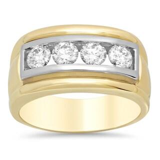 14k Two-tone Gold Men's 1 1/4ct TDW Diamond Ring (E-F, VS1-VS2)