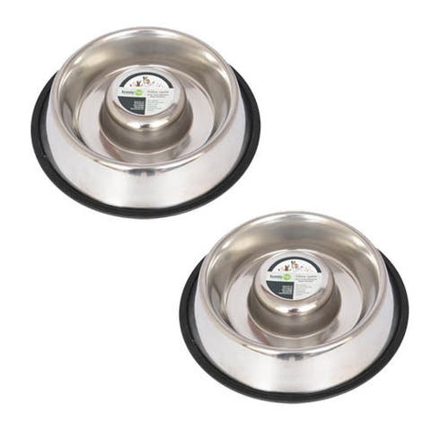 Iconic Pet 2-pack Slow Feed Stainless Steel Pet Bowl