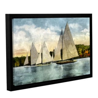 ArtWall Kevin Calkins ' Yachting In Autumn ' Gallery-Wrapped Floater-Framed Canvas