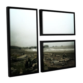 ArtWall Kevin Calkins ' Driftwood And Seastacks 3 Piece Floater Framed Canvas Flag Set