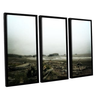 ArtWall Kevin Calkins ' Driftwood And Seastacks 3 Piece Floater Framed Canvas Set