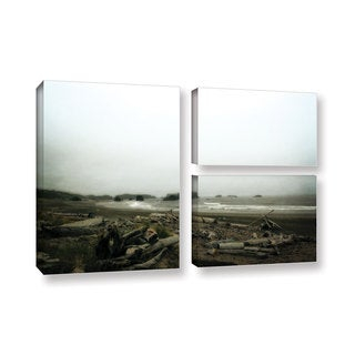 ArtWall Kevin Calkins ' Driftwood And Seastacks 3 Piece ' Gallery-Wrapped Canvas Flag Set