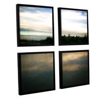ArtWall Kevin Calkins ' Buoy On The Bayou 4 Piece Floater Framed Canvas Square Set - Blue/Green/White