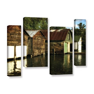ArtWall Kevin Calkins ' Boathouses On The River 4 Piece ' Gallery-Wrapped Canvas Staggered Set