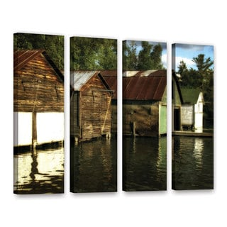 ArtWall Kevin Calkins ' Boathouses On The River 4 Piece ' Gallery-Wrapped Canvas Set