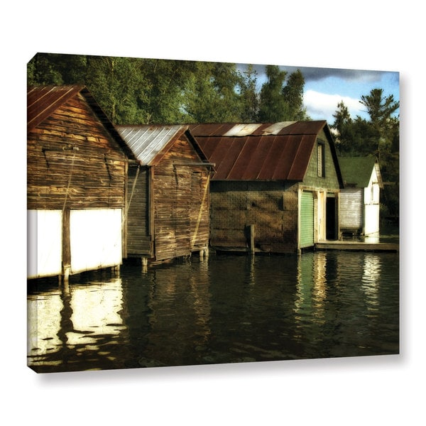 ArtWall Kevin Calkins ' Boathouses On The River ' Gallery-Wrapped Canvas - Multi