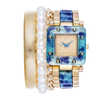 Via Nova Arm Candy Ladie's Fashion Gold & Blue Watch with a Set of 3 Bracelets