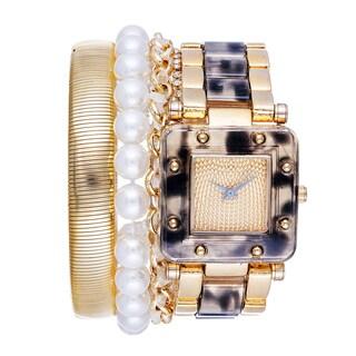 Via Nova Arm Candy Ladie's Fashion Gold & Grey Watch with a Set of 3 Bracelets