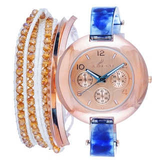 Via Nova Arm Candy Ladie's Fashion Blue Watch with a Set of 2 Bracelets