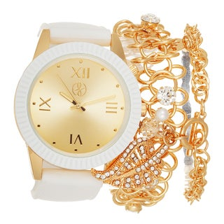 Fortune NYC Arm Candy Ladie's Fashion White Silicone Watch with a Set of 2 Bracelets