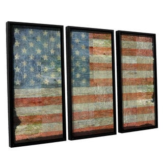 ArtWall Kevin Calkins ' Old Glory 3 Piece Floater Framed Canvas Set