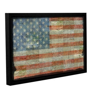 ArtWall Kevin Calkins ' Old Glory ' Gallery-Wrapped Floater-Framed Canvas