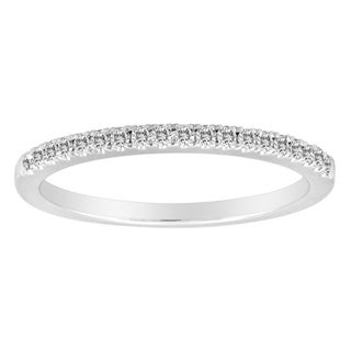14k White Gold 1/6ct TDW Round Diamond Band (F-G, VSI1-VSI2)