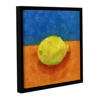 ArtWall Kevin Calkins ' Lemon With Blue And Orange ' Gallery-Wrapped Floater-Framed Canvas