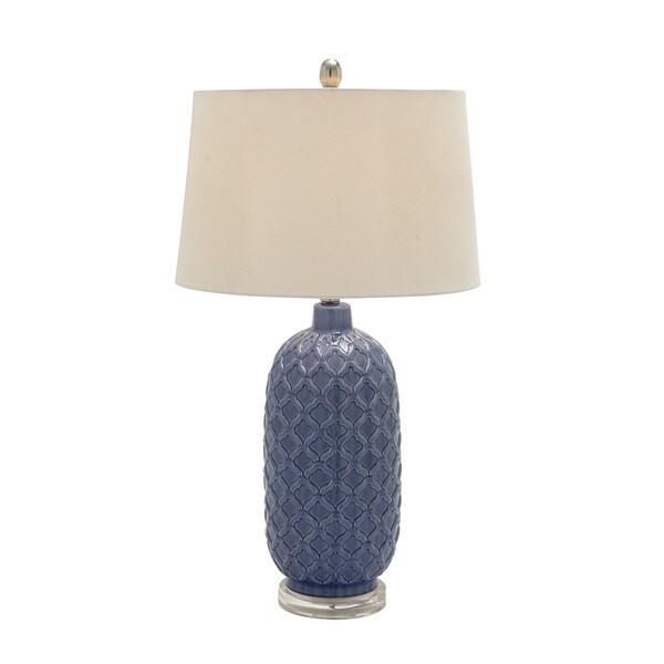 29-inch Blue Ceramic Table Lamp