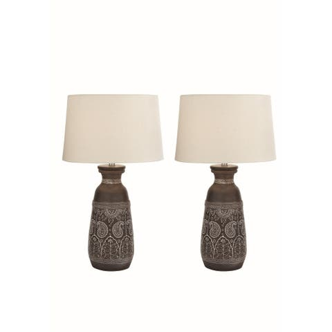 Studio 350 Set of 2, Terracotta Table Lamp 28 inches high