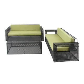 Green Metal Fabric Outdoor Sofa (Set of 3)