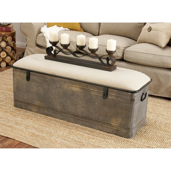 Shop Rustic Gray Metal And Wood Rectangular Storage Bench By Studio
