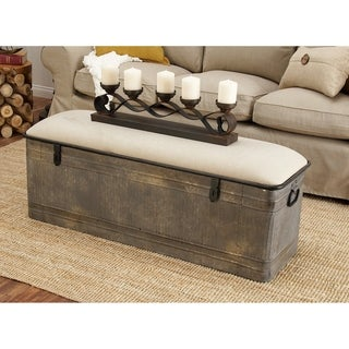 18-inch Grey Metal Fabric Bench