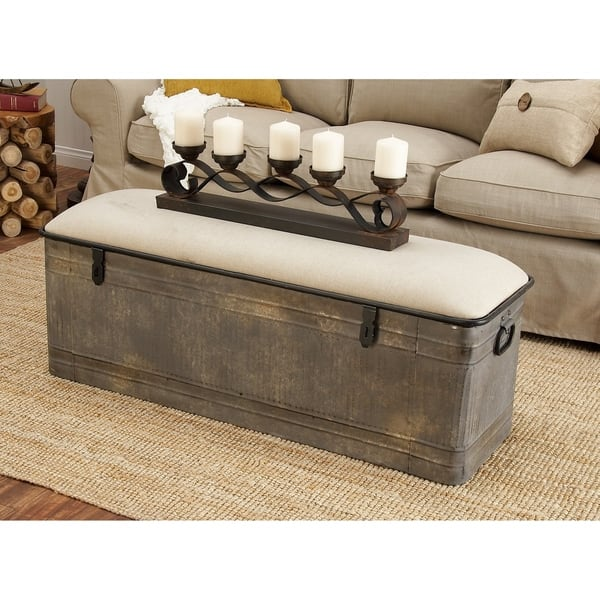 Brilliant Shop Rustic Gray Metal And Wood Rectangular Storage Bench By Squirreltailoven Fun Painted Chair Ideas Images Squirreltailovenorg
