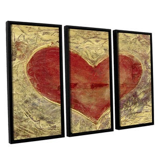 ArtWall Elena Ray ' Red Heart Of Gold 3 Piece Floater Framed Canvas Set