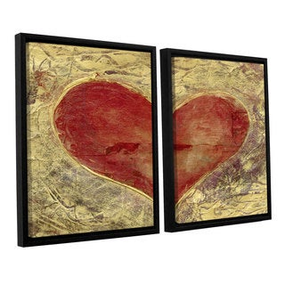 ArtWall Elena Ray ' Red Heart Of Gold 2 Piece Floater Framed Canvas Set