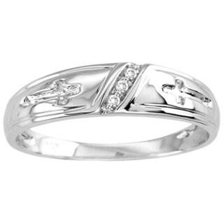Unending Love 10k White Gold Men's Diamond Accent Slanted 3-stone Ring