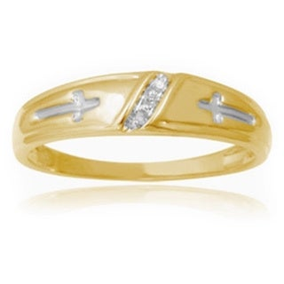 Unending Love Men's 10k Yellow Gold Diamond Accent 3-stone Slant Row Wedding Band