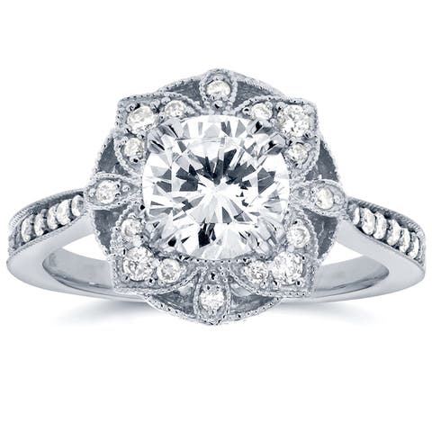 Annello by Kobelli 14k White Gold 1 1/4ct TGW Round Moissanite and Diamond Vintage Floral Engagement Ring