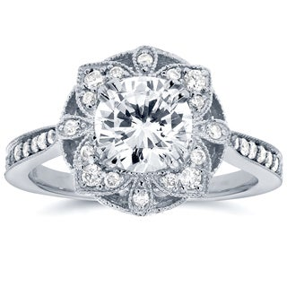 Annello 14k white Gold Round Moissanite and 1/4ct TDW Diamond Antique Floral Engagement Ring (G-H, I1-I2)