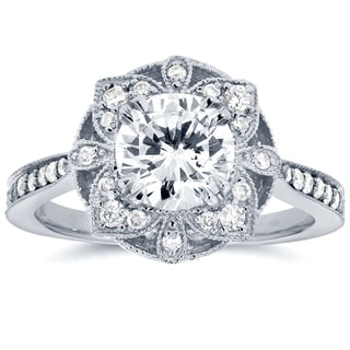 Annello by Kobelli 14k white Gold Round Moissanite and 1/4ct TDW Diamond Antique Floral Engagement Ring by Kobelli (G-H, I