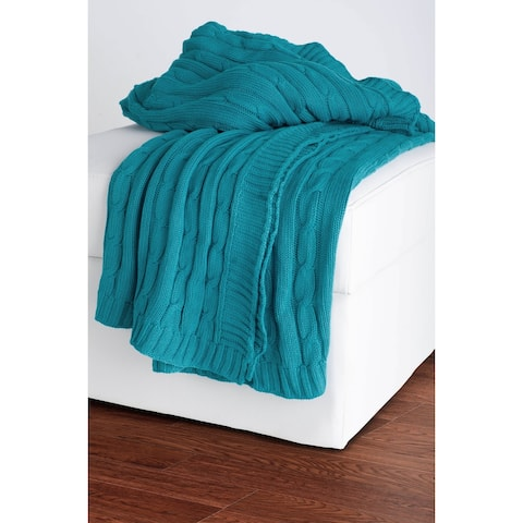 Rizzy Home Cable Knit Sweater Throw Turquoise