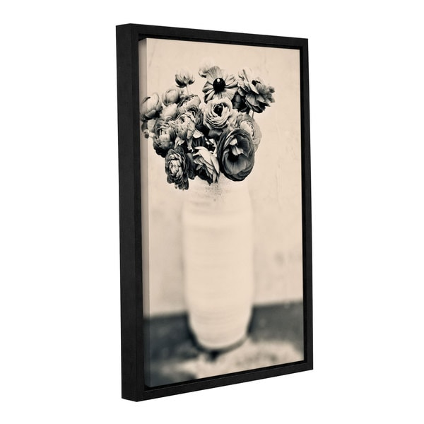 ArtWall Elena Ray ' Black And White Ranunculus ' Gallery-Wrapped Floater-Framed Canvas - Multi