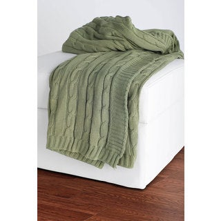 Rizzy Home Cable Knit Sweater Throw Olive