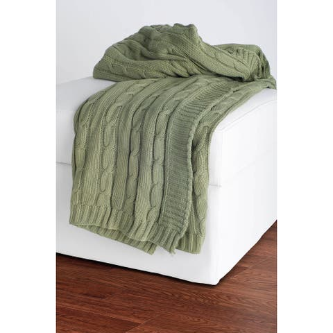 Rizzy Home Cable Olive Knit Sweater Throw