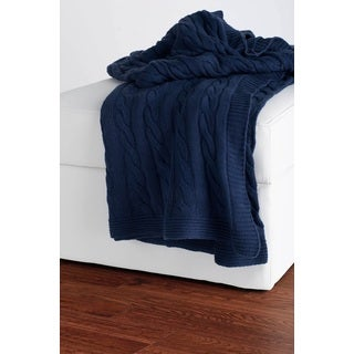 Rizzy Home Cable Knit Sweater Throw Navy