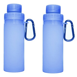 16-ounce Blue Silicone Foldable Water Bottle (Set of 2)
